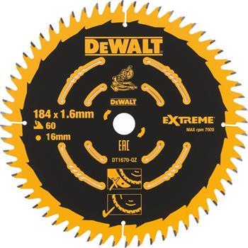 DeWALT DT1670 pilový kotouč EXTREME pro AKU kotoučové pily, 184 x 16 mm, 60 zubů