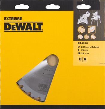 DeWALT DT4310 pilový kotouč na řezání dřeva pro kotoučové pily, 216 x 30 mm, 24 zubů