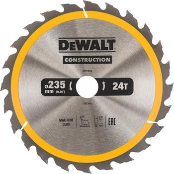 DeWALT DT1954 pilový kotouč CONSTRUCTION pro pokosové pily na dřevo s hřebíky, 235 x 30 mm, 24 zubů