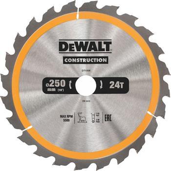DeWALT DT1956 pilový kotouč CONSTRUCTION pro dřevo s hřebíky, 250 x 30 mm, 24 zubů