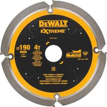 DeWALT DT1472 pilový kotouč pro cementovláknité a laminátové desky, 190 x 30 mm, 4 zuby