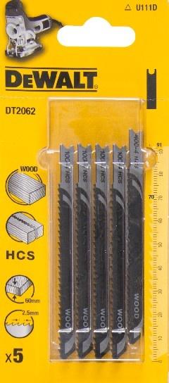 DeWALT DT2062 pilové plátky HCS na dřevo, základní řezy, 5 ks