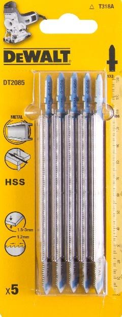 DeWALT DT2085 pilové plátky z rychlořezné oceli (HSS) pro řezání kovu 1,5 - 3 mm, 5 ks
