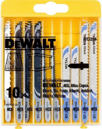 DeWALT DT2294 sada pilových plátků MIX pro přímočaré pily na dřevo a kovy, 10 ks