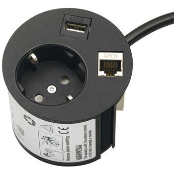 Síťová/datová zásuvka Point 230 V,1 Schuko zástrčka,1 datový vstup, 1 USB