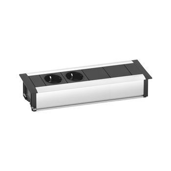 Vestavná zásuvková lišta EVOline Frame Dock Small 3 zásuvky Schuko + 2xRJ45