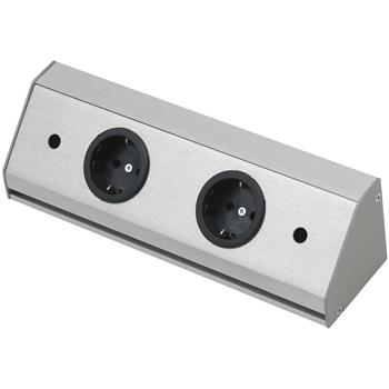 Zásuvková lišta Corner Compact 230 V, max.3500 Watt, 410 mm, nerez efekt