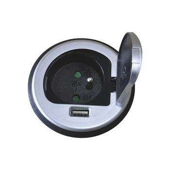 Vestavná zásuvka 230V s víčkem + USB nabíjecí adaptér, stříbrná