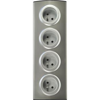 Zásuvkový panel 4 zásuvek 230 V, stříbrný