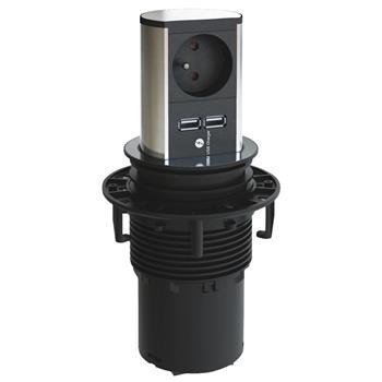 Výsuvná zásuvková lišta Elevator Home, zásuvka 1x 230 V + 2x USB, česká norma