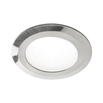 LED vestavné svítidlo Date, 3 W, teplá bílá, o76 mm, nerez efekt, sada 3ks