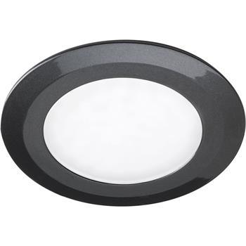 LED vestavné svítidlo Date, 3 W, teplá bílá, o76 mm, antracit leštěný, sada 3ks