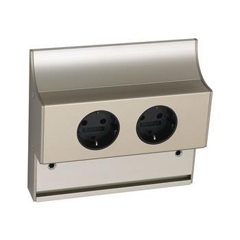 Dvojitá zásuvka 230 V, hliník nerezový efekt
