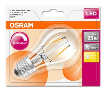 OSRAM LED Filament SUPERSTAR ClasA 230V 3,3W 827 E27 DIM A+ Sklo čiré 250lm 2700K 15000h (blistr 1ks)