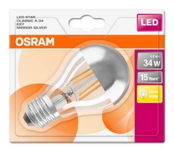 OSRAM LED Filament STAR ClasA 230V 4W 827 E27 noDIM A+ Sklo čiré mirror 380lm 2700K 15000h (blistr 1ks)