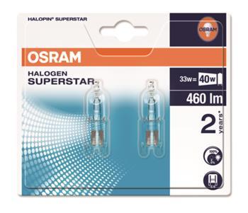 OSRAM Halogen Halopin ECO Superstar 66733 ECO SST 230V 33W G9 noDIM D Sklo čiré 460lm 2700K 2000h (blistr 2ks)