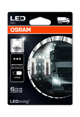 """OSRAM autožárovka """"T4W"""" LEDriving® Premium 24V 0,8W BA9s 6000K studená bílá (Blistr 2ks)"""