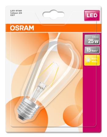 OSRAM LED Filament STAR Edison 230V 2,5W 827 E27 noDIM A++ Sklo čiré 250lm 2700K 15000h (blistr 1ks)