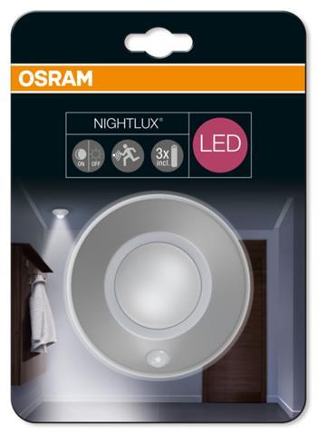 OSRAM LED Svítidlo mobilní NIGHT LUX Ceiling Silver SENSOR 230V N/AW 0 noDIM A Plast lm 4000K 2500