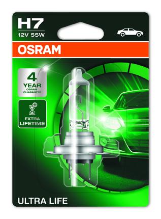 OSRAM autožárovka H7 ULTRA LIFE 12V 55W PX26d (Blistr 1ks)