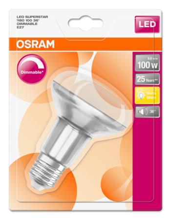 OSRAM LED SUPERSTAR R80 36° 230V 9,6W 827 E27 DIM A Sklo 670lm 2700K 25000h (blistr 1ks)