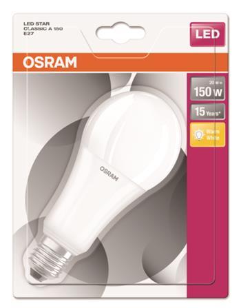 OSRAM LED STAR ClasA 230V 20W 827 E27 noDIM A+ Plast matný 2452lm 2700K 15000h (blistr 1ks)