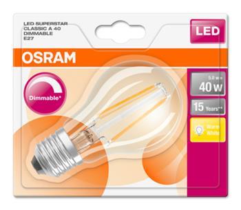 OSRAM LED Filament SUPERSTAR ClasA 230V 5W 827 E27 DIM A+ Sklo čiré 470lm 2700K 15000h (blistr 1ks)