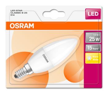 OSRAM LED STAR ClasB 230V 3,2W 827 E14 noDIM A+ Plast matný 250lm 2700K 15000h (blistr 1ks)