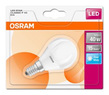 OSRAM LED STAR ClasP 230V 5,7W 840 E14 noDIM A+ Plast matný 470lm 4000K 15000h (blistr 1ks)