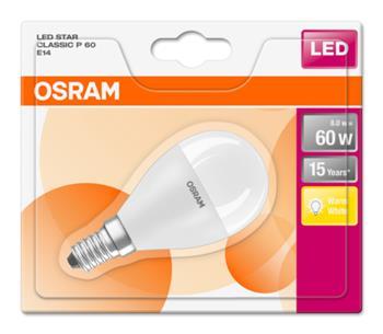 OSRAM LED STAR ClasP 230V 8W 827 E14 noDIM A+ Plast matný 806lm 2700K 15000h (blistr 1ks)