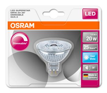 OSRAM LED SUPERSTAR MR16 36° 230V 3,4W 840 GU5.3 DIM A+ Sklo 230lm 4000K 25000h (blistr 1ks)