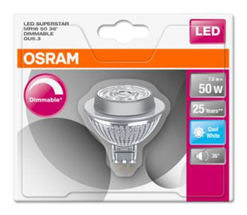 OSRAM LED SUPERSTAR MR16 36° 230V 7,8W 840 GU5.3 DIM A+ Sklo 621lm 4000K 25000h (blistr 1ks)
