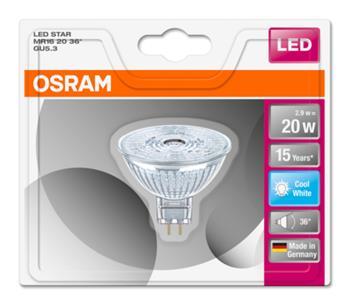 OSRAM LED STAR MR16 36° 230V 2,9W 840 GU5.3 noDIM A+ Sklo 230lm 4000K 15000h (blistr 1ks)