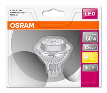 OSRAM LED STAR MR16 36° 230V 7,2W 827 GU5.3 noDIM A+ Sklo 621lm 2700K 15000h (blistr 1ks)