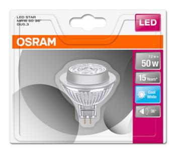 OSRAM LED STAR MR16 36° 12V 7,2W 840 GU5.3 noDIM A+ Sklo 621lm 4000K 15000h (blistr 1ks)