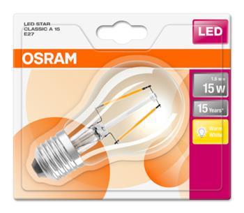 OSRAM LED Filament STAR ClasA 230V 1,6W 827 E27 noDIM A++ Sklo čiré 136lm 2700K 15000h (blistr 1ks