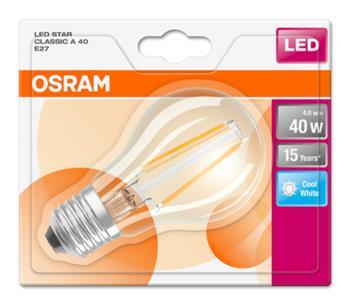 OSRAM LED Filament STAR ClasA 230V 4W 840 E27 noDIM A++ Sklo čiré 470lm 4000K 15000h (blistr 1ks)