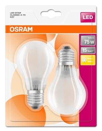 OSRAM LED STAR ClasA 230V 8W 827 E27 noDIM A++ Sklo matné 1055lm 2700K 15000h (blistr 2ks)