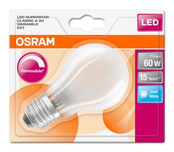 OSRAM LED SUPERSTAR ClasA 230V 7,5W 840 E27 DIM A+ Sklo matné 806lm 4000K 15000h (blistr 1ks)