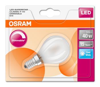 OSRAM LED SUPERSTAR ClasP 230V 5W 840 E14 DIM A+ Sklo matné 470lm 4000K 15000h (blistr 1ks)