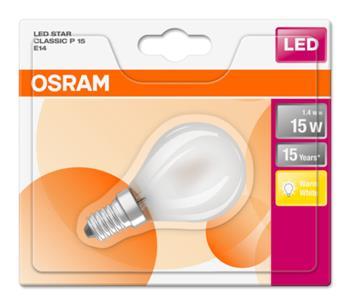OSRAM LED STAR ClasP 230V 1,4W 827 E14 noDIM A++ Sklo matné 136lm 2700K 15000h (blistr 1ks)