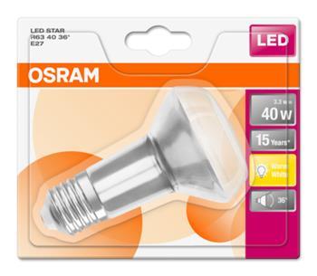 OSRAM LED STAR R63 36° 230V 3,3W 827 E27 noDIM A Sklo 210lm 2700K 15000h (blistr 1ks)