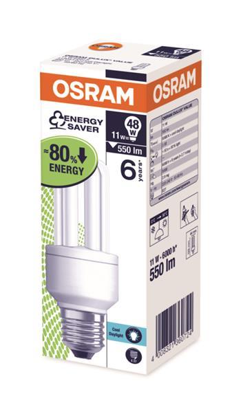 OSRAM zářivka DULUX STICK kompaktní závit 240V 11W 865 E27 noDIM A Sklo matné 580lm 6500K 10000h (krab. se závěsem 1ks)