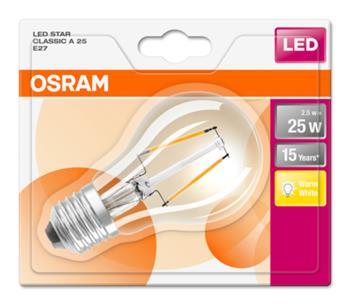 OSRAM LED Filament STAR ClasA 230V 2,5W 827 E27 noDIM A++ Sklo čiré 250lm 2700K 15000h (blistr 1ks)