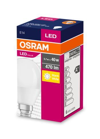 OSRAM LED VALUE ClasP 230V 5,7W 827 E14 noDIM A+ Plast matný 470lm 2700K 10000h (krabička 1ks)