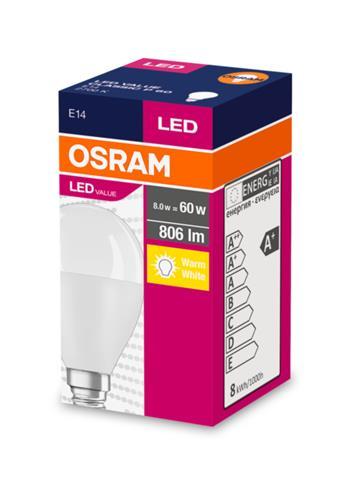 OSRAM LED VALUE ClasP 230V 8W 827 E14 noDIM A+ Plast matný 806lm 2700K 10000h (krabička 1ks)