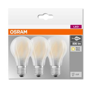 OSRAM LED LED ClasA 230V 7W 827 E27 noDIM A++ Sklo matné 806lm 2700K 10000h (krabička 3ks)