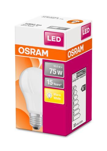 OSRAM LED STAR ClasA 230V 10W 827 E27 noDIM A+ Plast matný 1060lm 2700K 15000h (krabička 1ks)