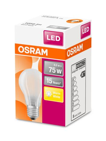 OSRAM LED STAR ClasA 230V 8W 827 E27 noDIM A++ Sklo matné 1055lm 2700K 15000h (krabička 1ks)