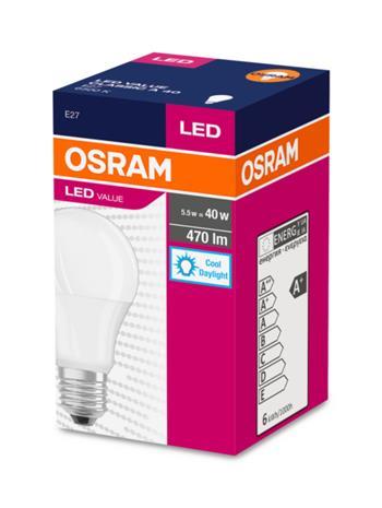 OSRAM LED VALUE ClasA 230V 5,5W 827 E27 noDIM A+ Plast matný 470lm 6500K 10000h (krabička 1ks)